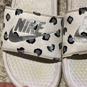 Leopard Nike Slides
